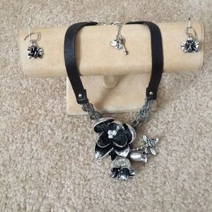 Fossil silver orchid necklace set